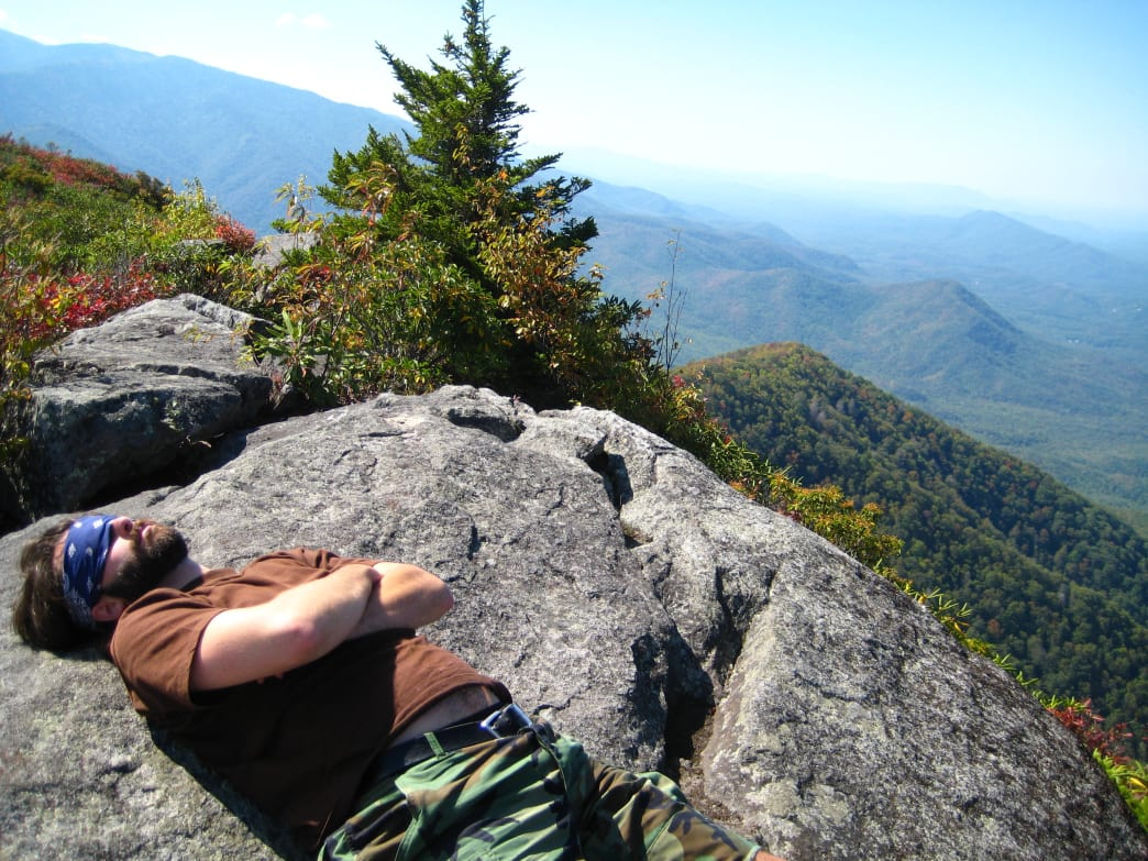 Summiting Mt. Cammerer may call for a quick snooze.