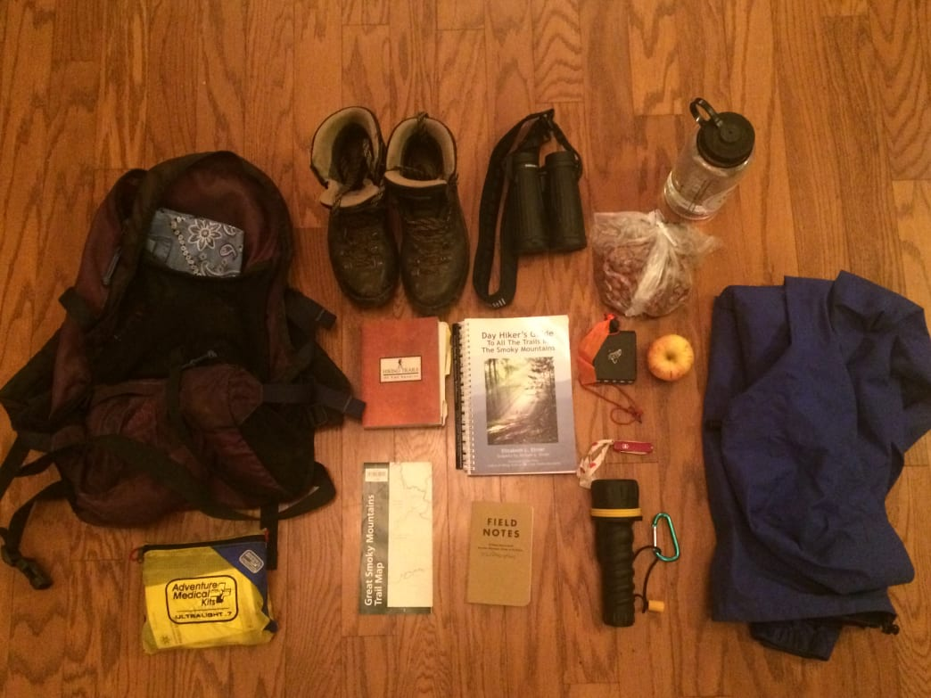 Gearing up for a weekend in the Smokies, with A Day Hiker's Guide to All the Trails in the Smoky Mountains, in tow.