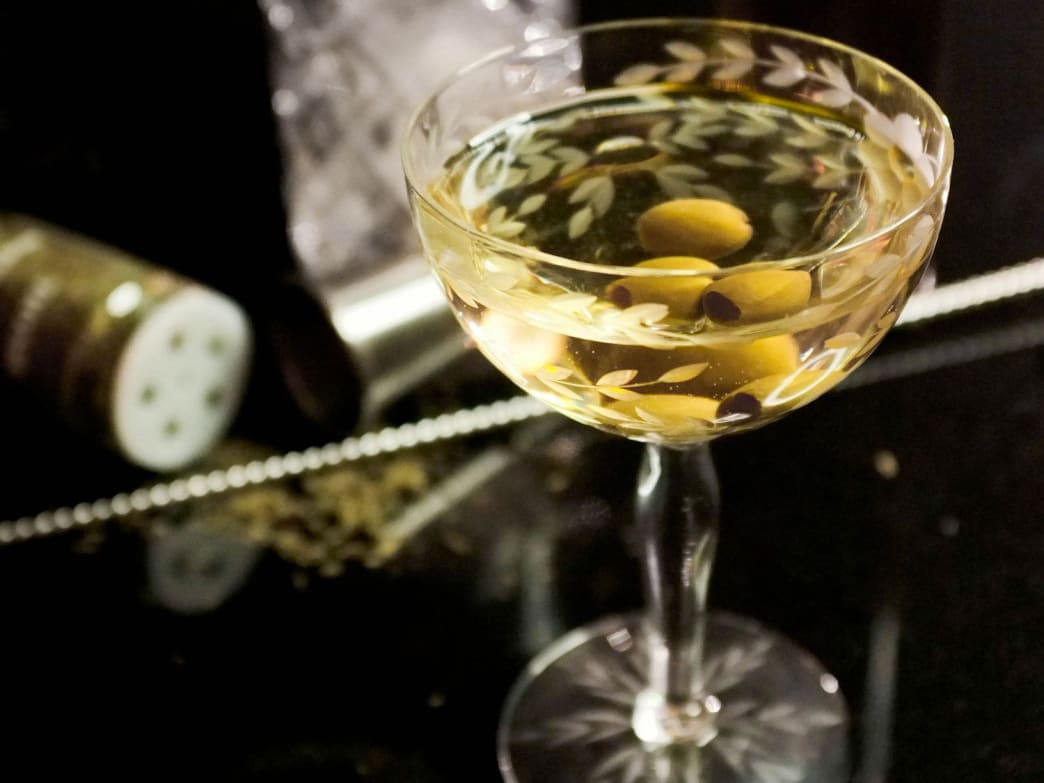 Skip the olive brine and infuse the gin itself with peppery green olive flavor.