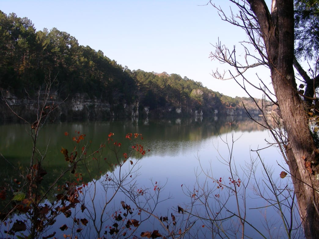 Wake up to a view of the quarry lake from the Lakeview Campground at St. Stephens Historical Park.