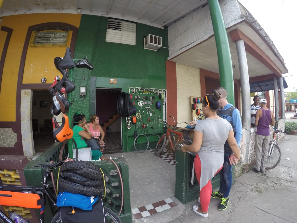 The exterior of a bike mechanic's shop in Sancti Spiritus. Elizabeth Walker