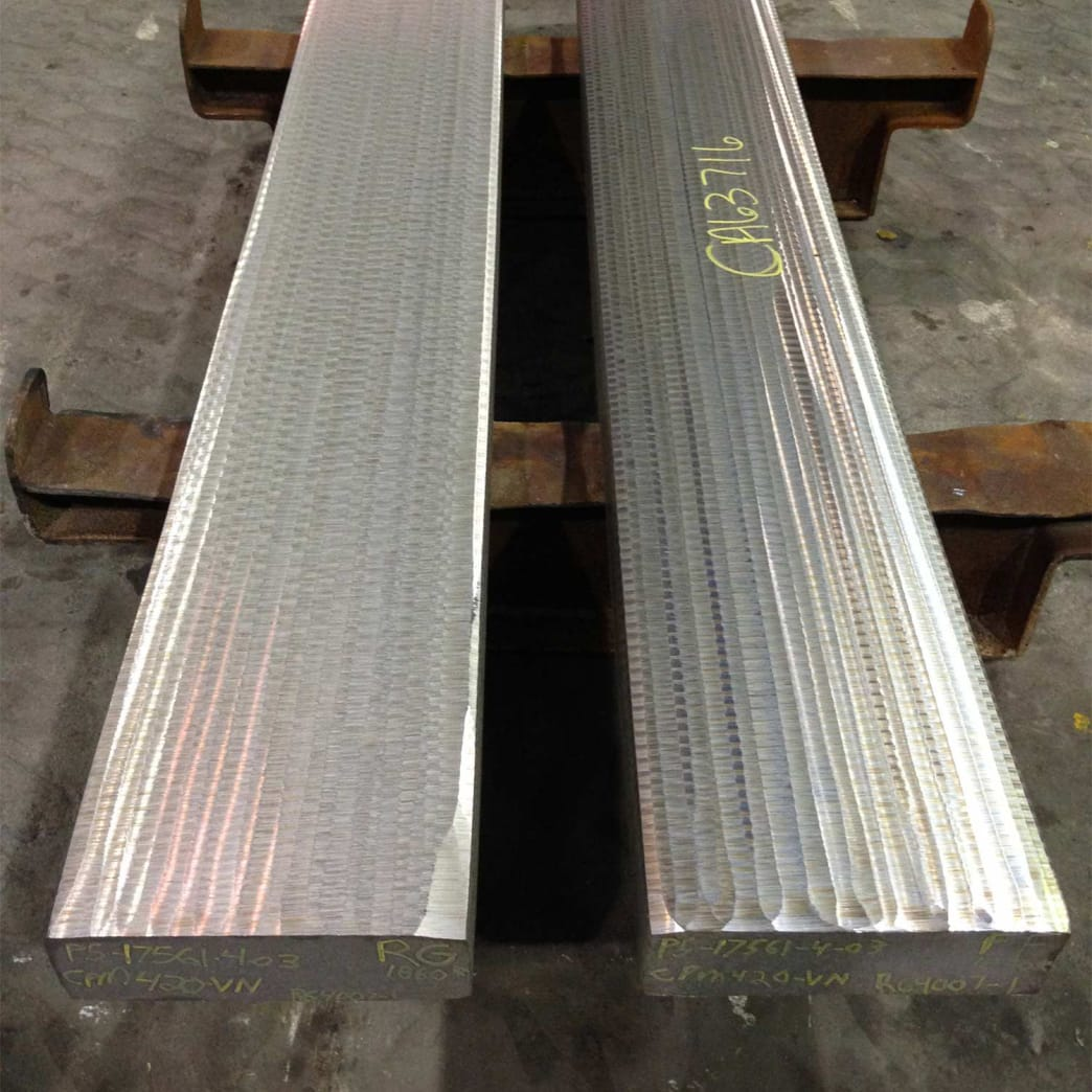 Two slabs of CPM S30V steel.