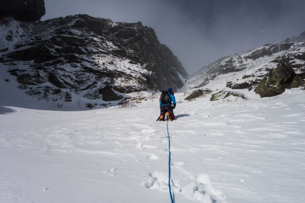 On the way up Central Gully.