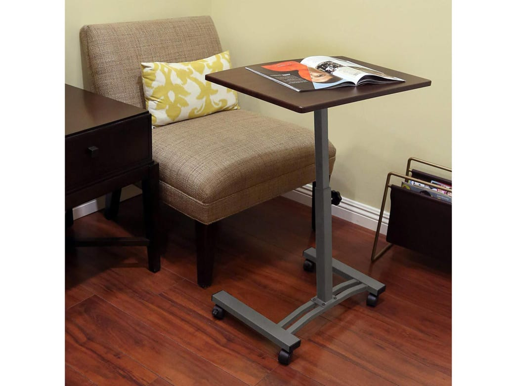 This mobile cart can go from standing desk to sitting desk in an instant.