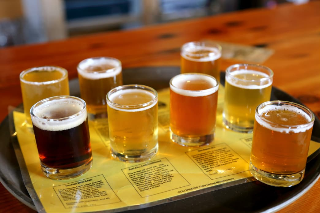 A flight of the offerings at Durango Brewing Company.
