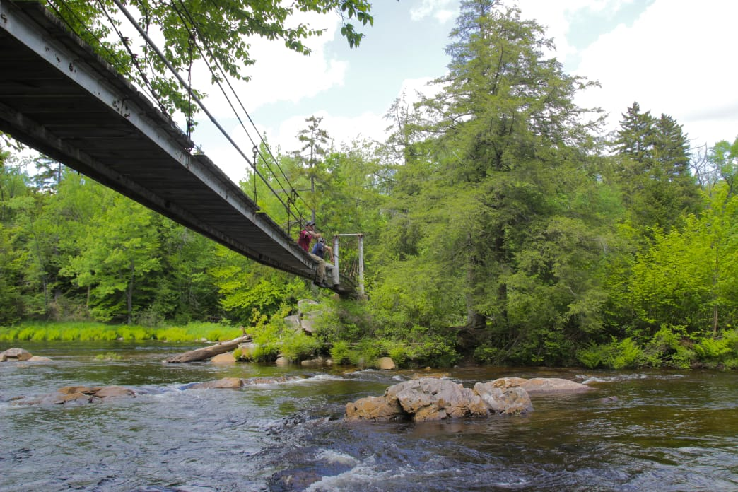 The suspension bridge stretching across the West Branch of the Sacandaga River makes for a great place to take a break.