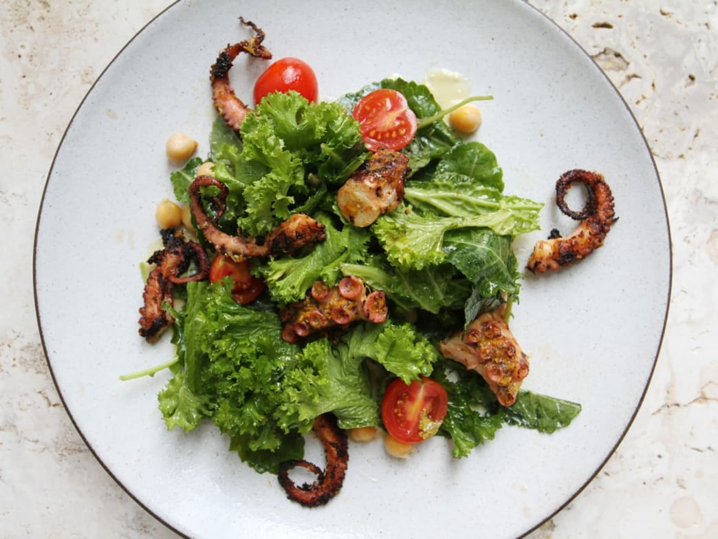 Grilled Octopus with Chickpeas, Tomatoes and Anchovy Vinaigrette