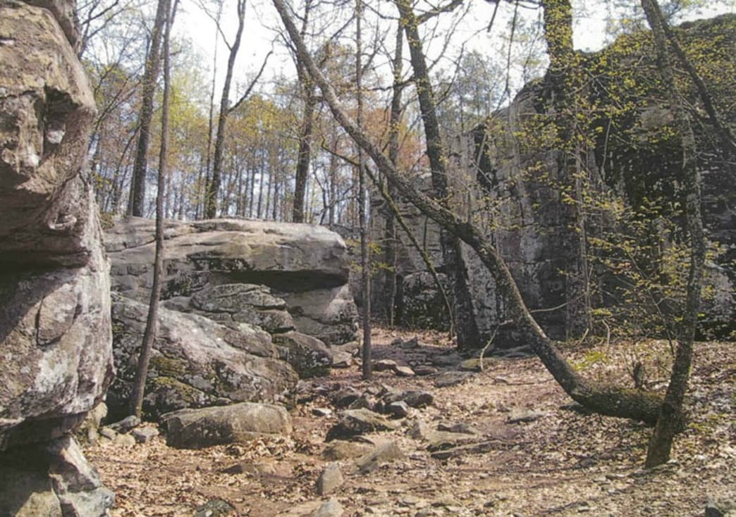 Towering Boulders lining a hiking trail in Moss Rock Preserve
