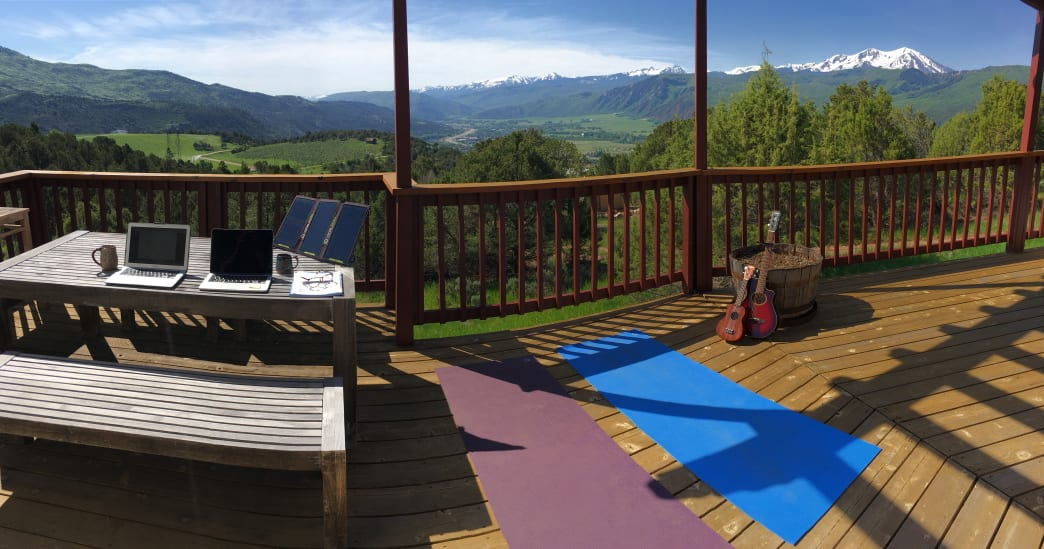 Essentials to life on the road include solar panels, guitars, and yoga mats.      Aaron Hussmann