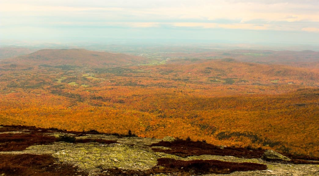 Fall foliage from the summit of Mount Mansfield.
