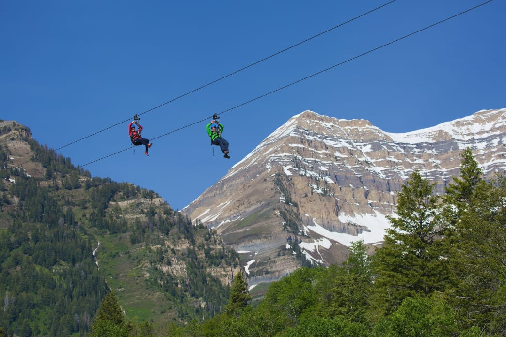 Take a ride on a zipline at Sundance Mountain Resort.