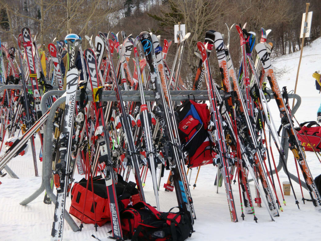 Photo of skis stored outside the lodge at Stratton