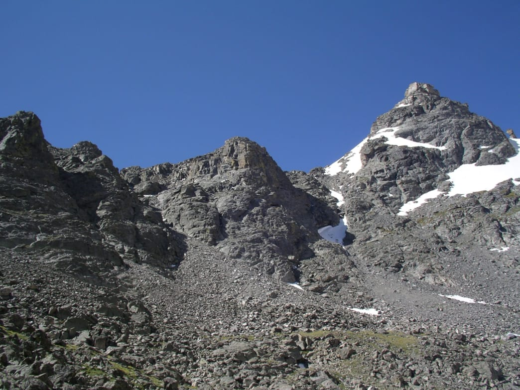 "A look at Navajo Peak (right, with snow). Airplane gully is just left of the middle ""peak"". James Dziezynski"