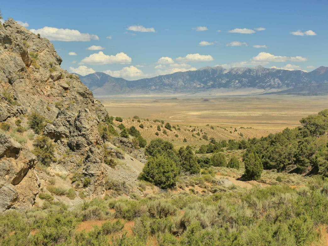 Hikers in Tooele County will find beautiful views of mountains, canyons, and desert landscapes similar to this one in Deep Creek Range.