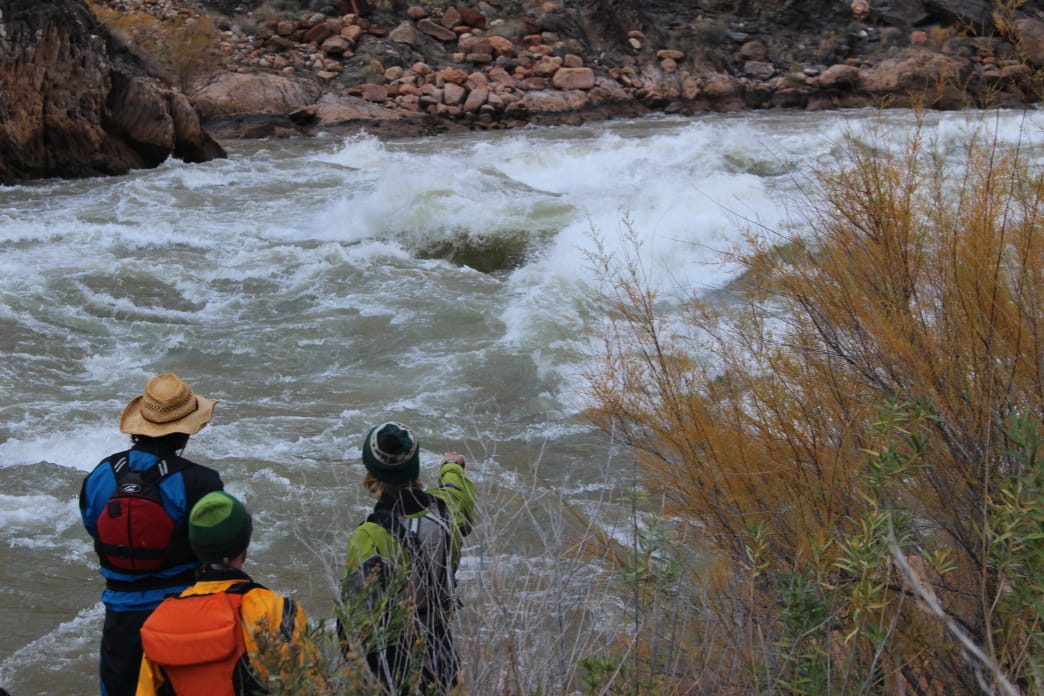 Scouting rapids along the Colorado River.
