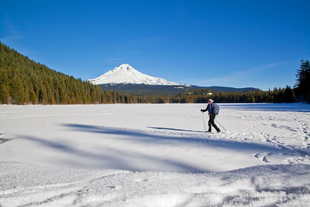 Trillium Lake is a popular cross-country skiing destination that affords skiers views of Mount Hood.