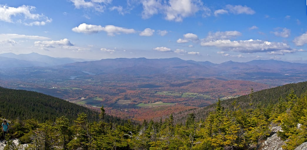 Views of Camel's Hump (left) and Mount Mansfield (right) from the summit of Mount Hunger.