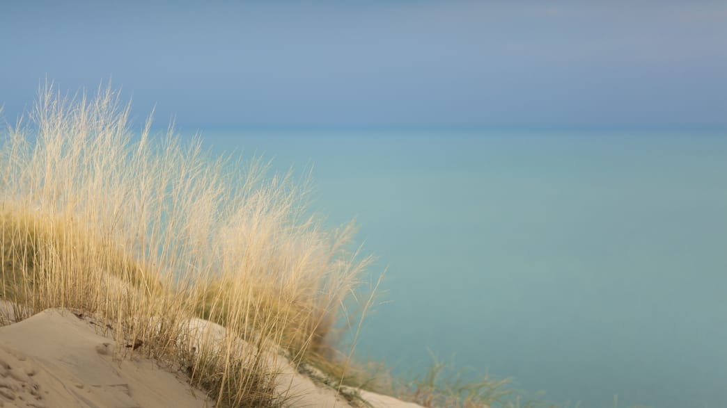 A view from Lake Michigan from the Indiana Dunes.