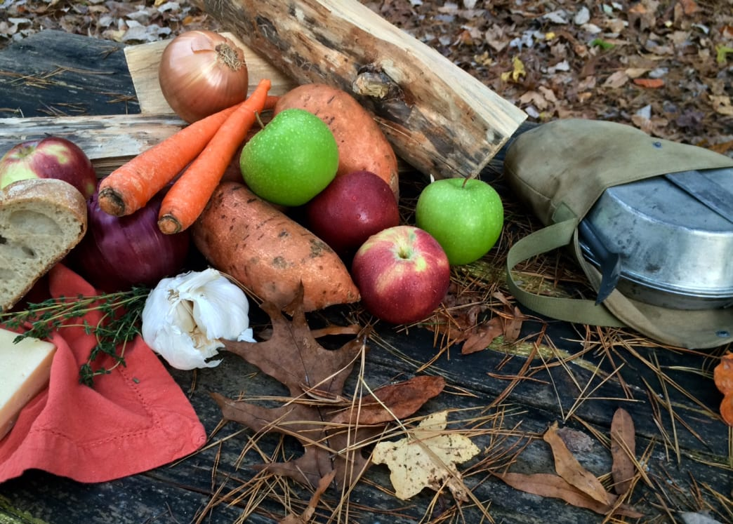 campfire holiday feast using vegetables
