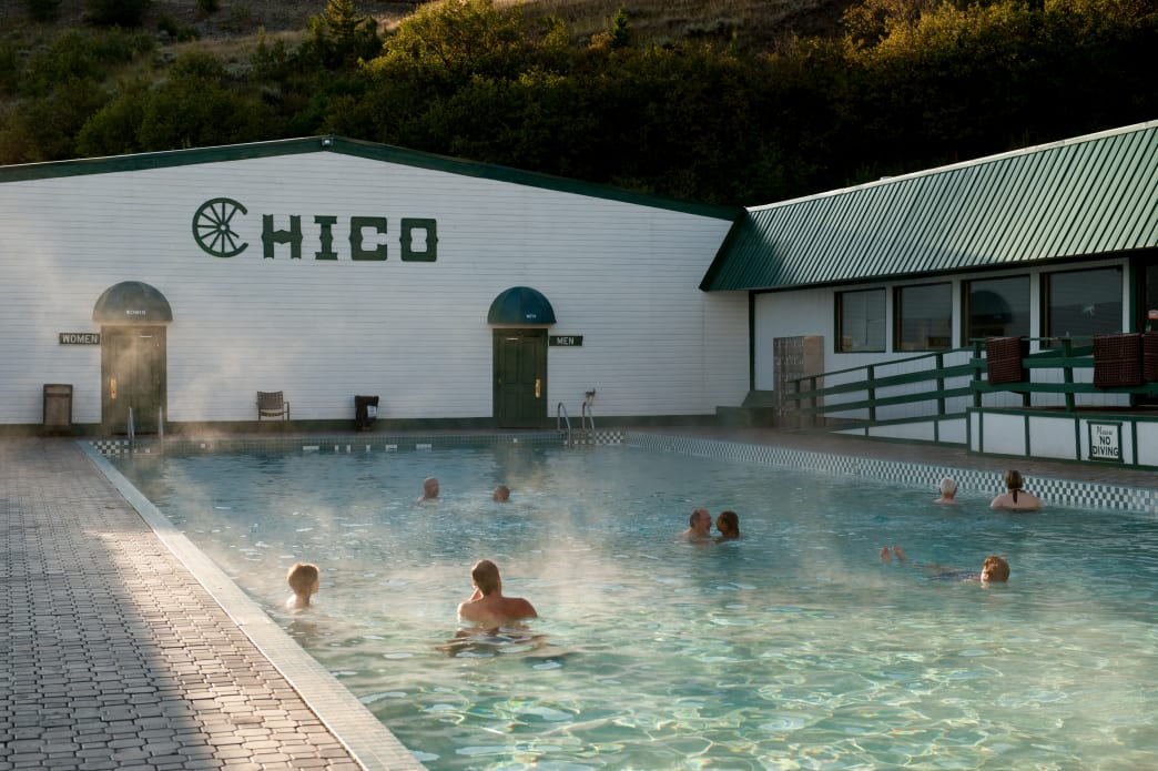 Relax in mineral hot springs at Chico Hot Springs.