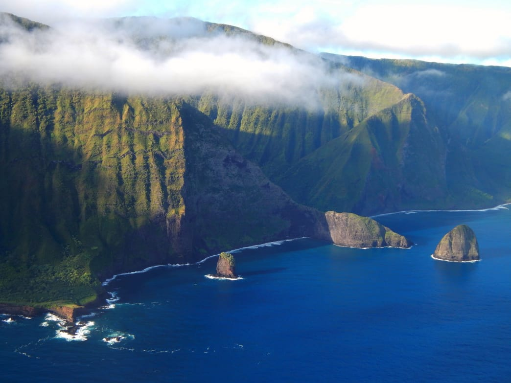 The dramatic shoreline of Molokai's North Shore.
