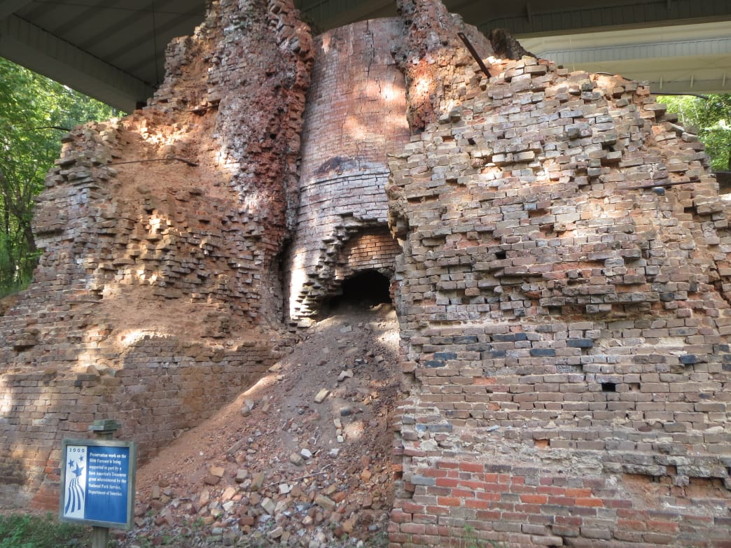 The carefully preserved remains of the Bibb Furnace at Brierfield Historic State Park