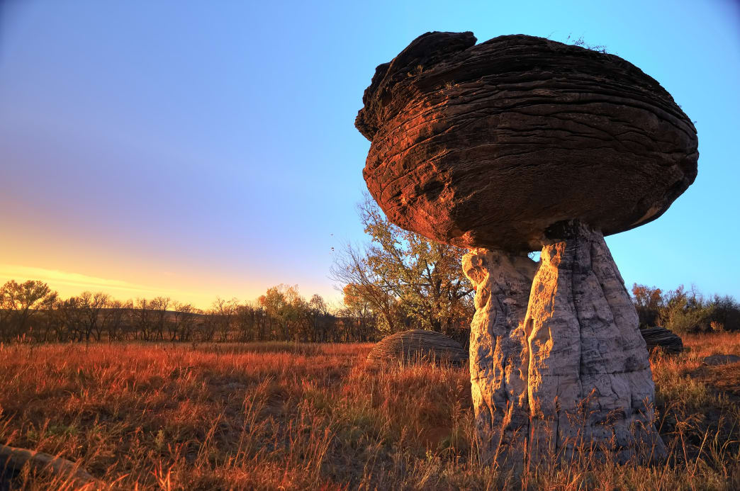 It's easy to see where the name for Mushroom Rock State Park came from.