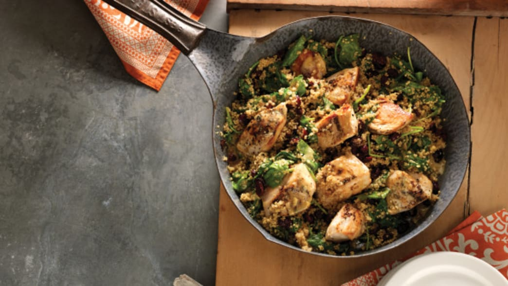 Dijon Chicken & Quinoa Skillet with Baby Kale & Cranberries - Clean Eating Magazine