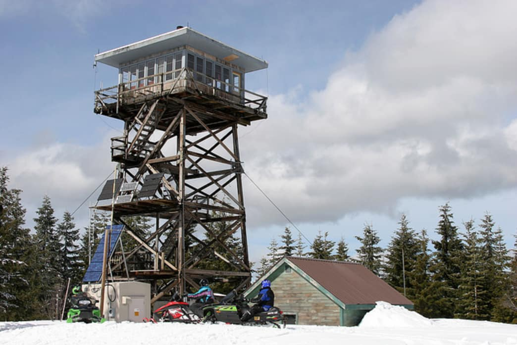 Winter adventurers can cross-country ski, snowshoe, or ride snowmobiles to the Clear Lake Lookout.