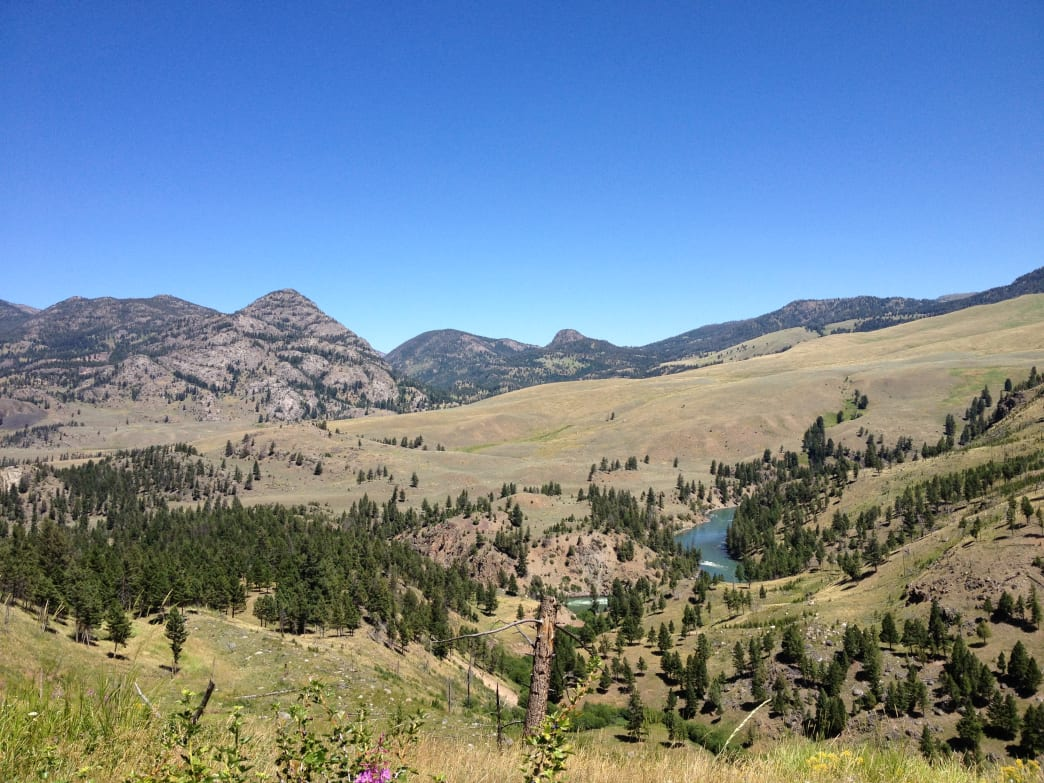 Looking down the Yellowstone River from near the Hellroaring Trailhead.     Ethan Shaw