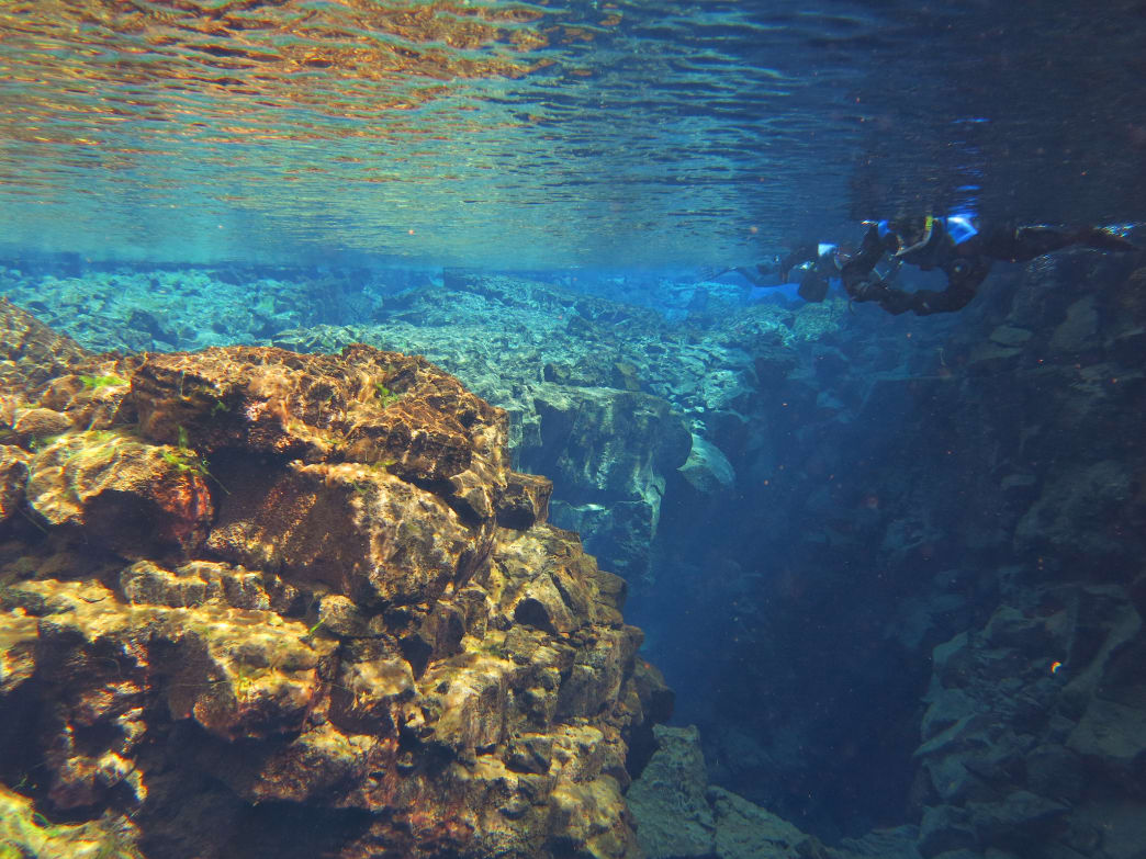 Snorkeling in the impossibly clear waters of Silfra Fissure.