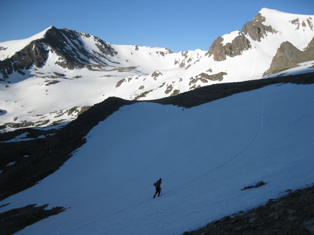 Approaching the Juliet Couloir on Mount Neva.
