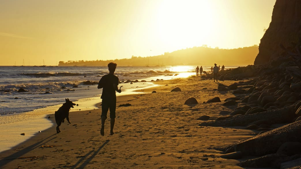 The Cabrillo Bike Path will take you from Butterfly Beach (above) to Shoreline Park.