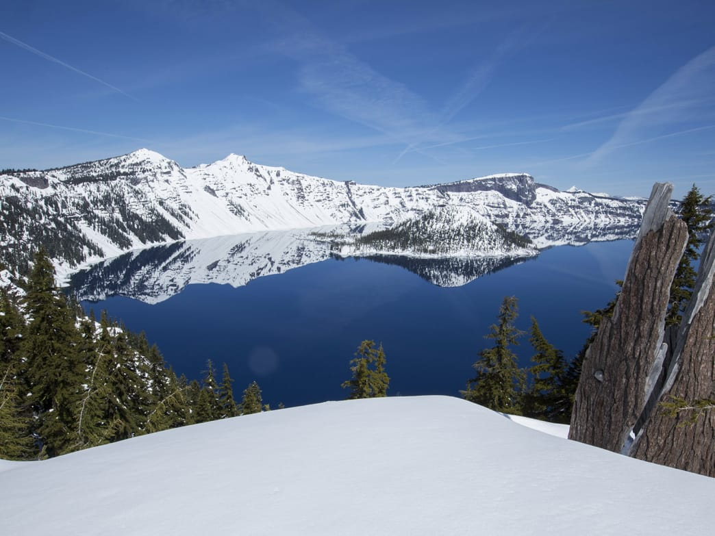 The best wintertime views of Crater Lake National Park comes via snowshoe.