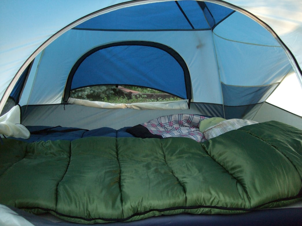 Warm sleeping bags inside a camping tent