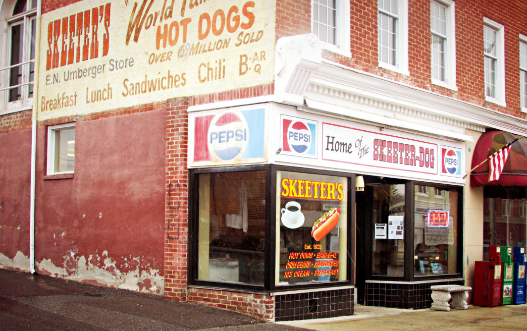 "Grab a bite to eat at Skeeter's, known for its ""world-famous"" hotdog."