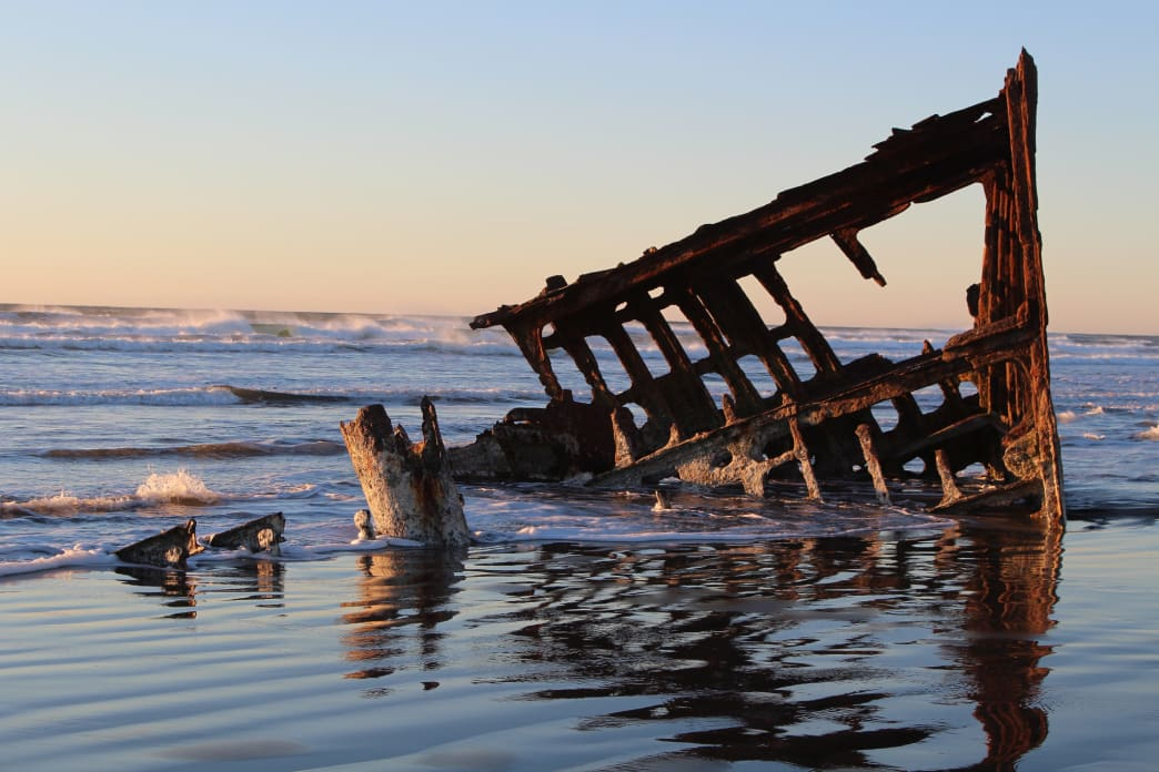 The rusty remains of the Peter Iredale.