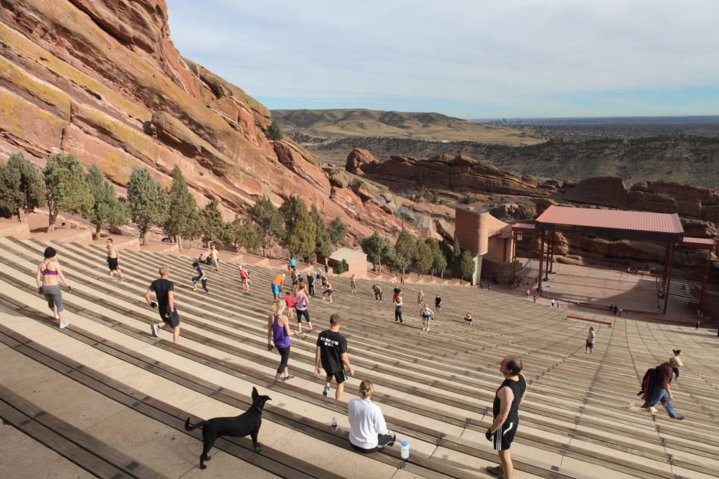 When not in use for concerts, Red Rocks Amphitheater is open for free, public workouts.