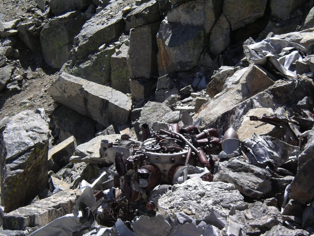 Engine components at the main wreck site on Navajo Peak. James Dziezynski