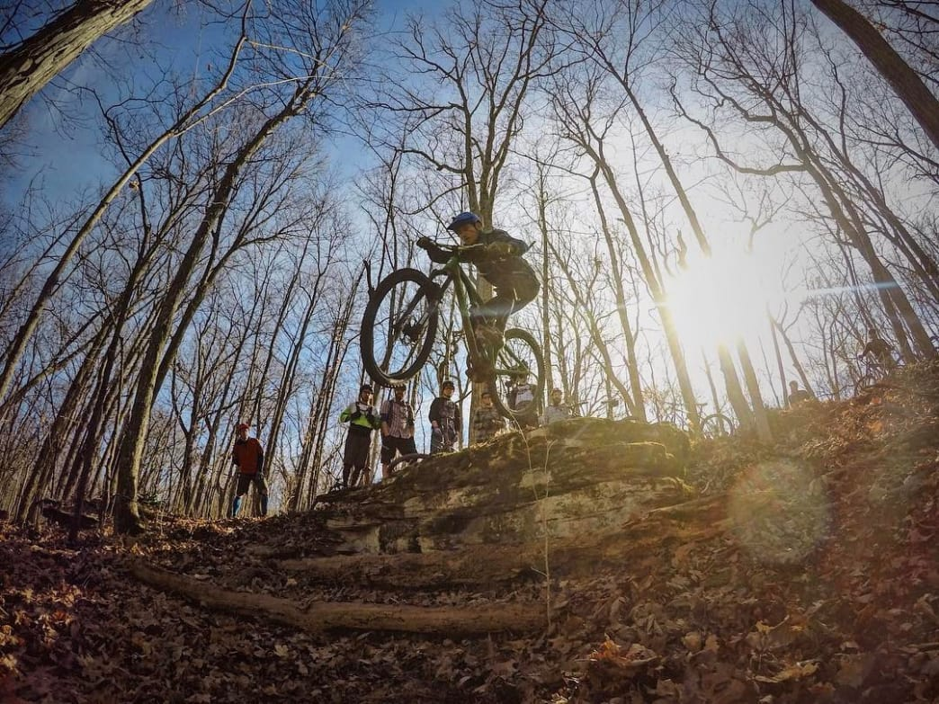 Even the mostly flat trails at Monte Sano have a few spots to get air.