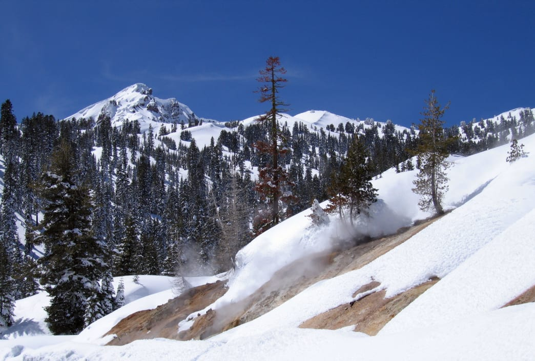 Brokeoff Mountain rises above Sulphur Works in the winter