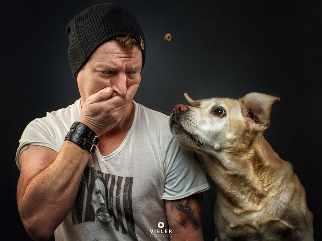 Self portrait of photographer Christian Vieler and his lab Lotte.