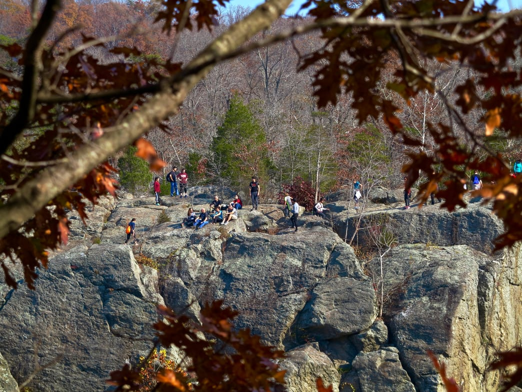 Hikers take a break from rugged rock scrambling on the Billy Goat Trail sections of the C&O Canal Towpath.