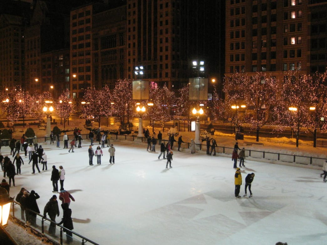 Skating at Millennium Park on Michigan Avenue.