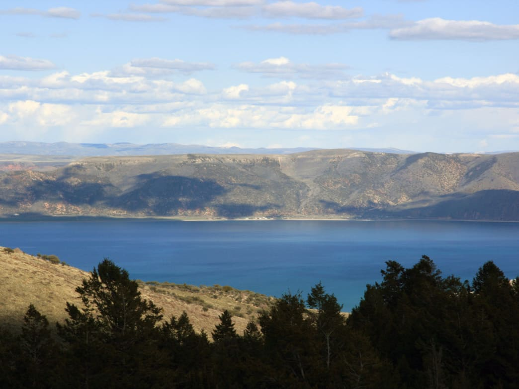The stunning blue lake is shared between land-locked Utah and Idaho.