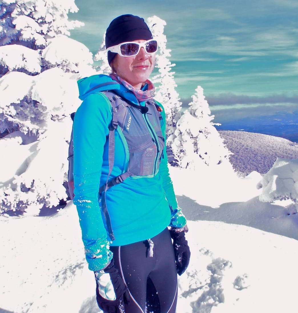 Checking out the winter views from Camel's Hump during a quick snowy run.