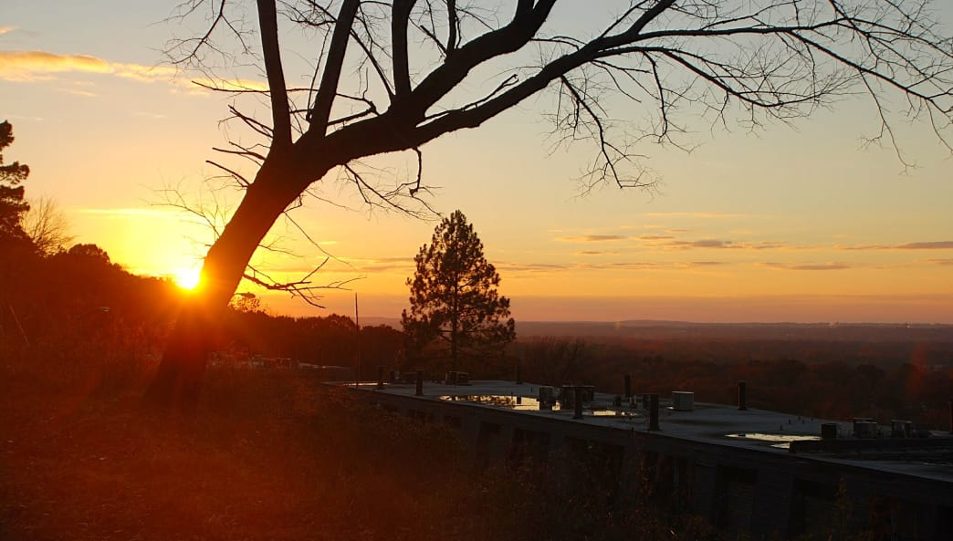 The mostly forested Vulcan Trail offers numerous clearings and viewpoints for enjoying the sunset.