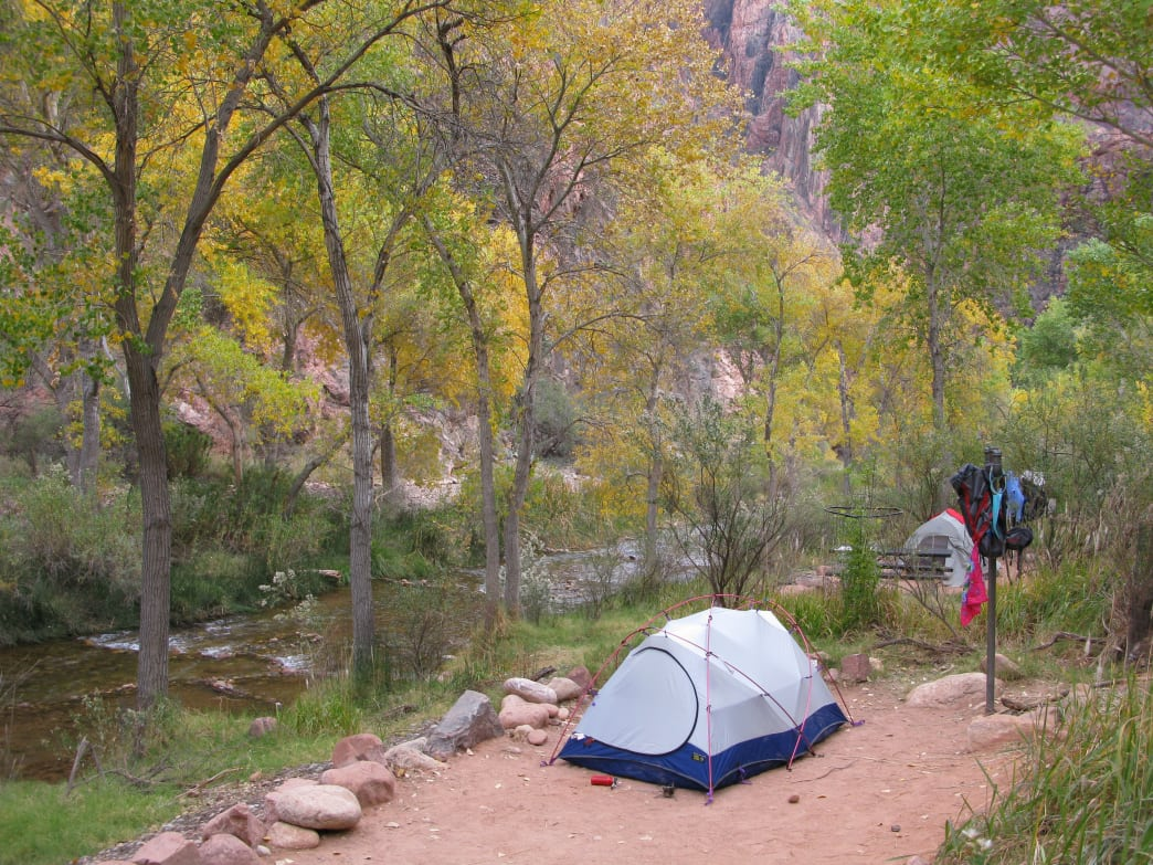 Camping at the bottom of the Grand Canyon.