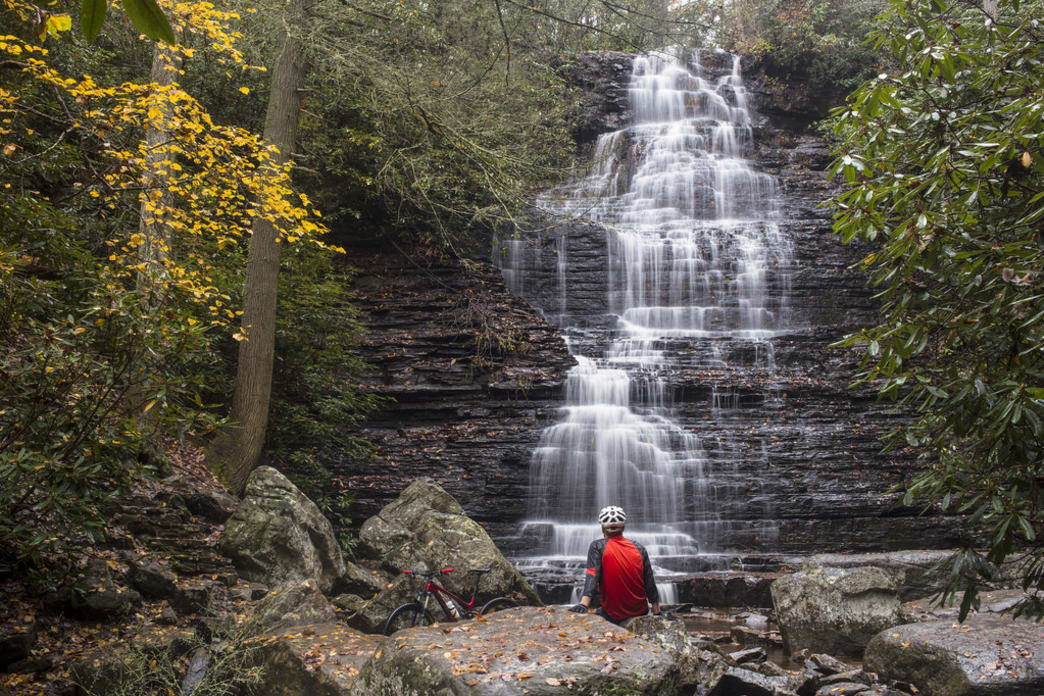 The short spur trail to Benton Falls  is foot-traffic-only, but it's worth hiking your bike down to soak in the view.