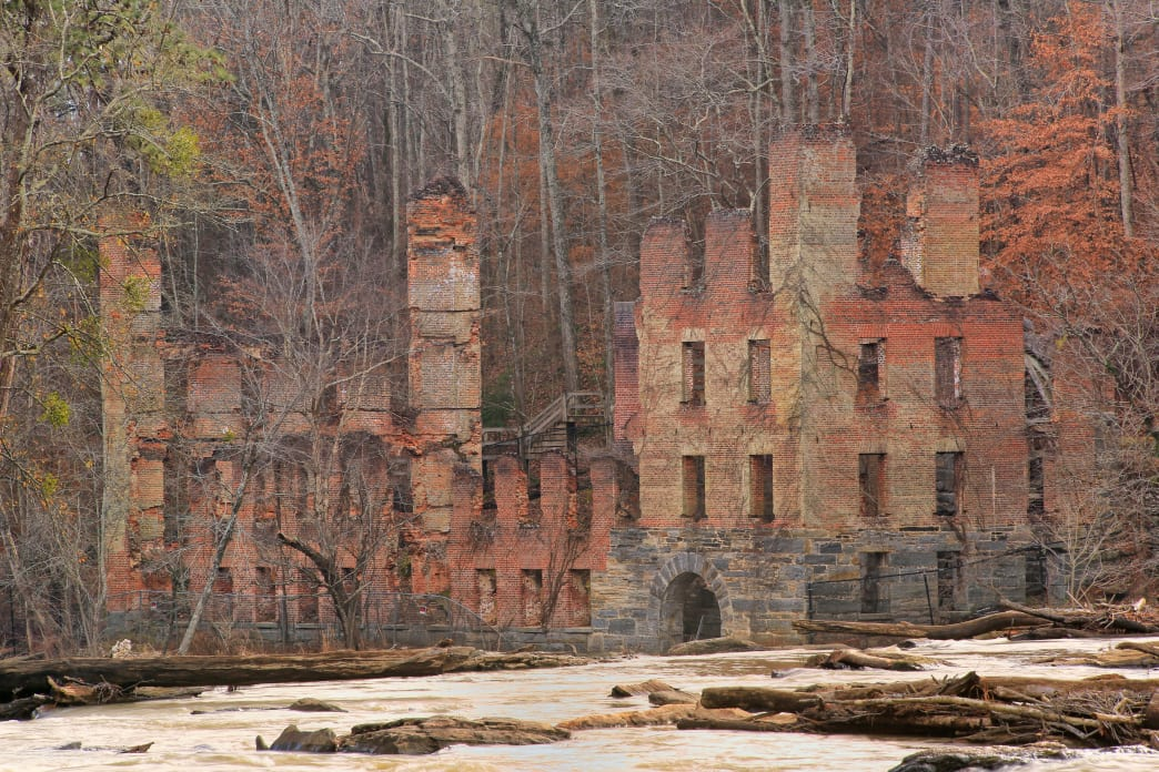 The remains of an historic textile mill can be found in Sweetwater Creek State Park.